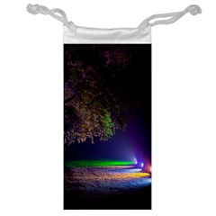 Illuminated Trees At Night Jewelry Bag