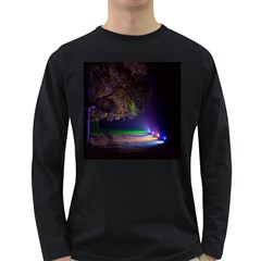 Illuminated Trees At Night Long Sleeve Dark T-Shirts