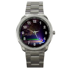 Illuminated Trees At Night Sport Metal Watch