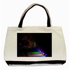 Illuminated Trees At Night Basic Tote Bag