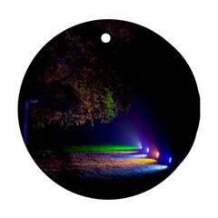 Illuminated Trees At Night Round Ornament (Two Sides)