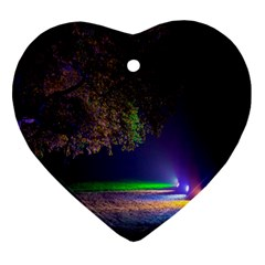 Illuminated Trees At Night Heart Ornament (Two Sides)