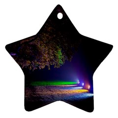 Illuminated Trees At Night Star Ornament (two Sides)