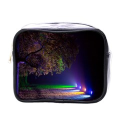 Illuminated Trees At Night Mini Toiletries Bags
