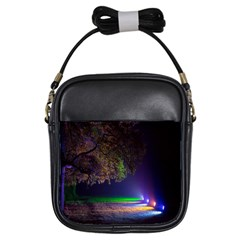 Illuminated Trees At Night Girls Sling Bags