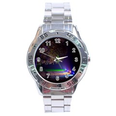Illuminated Trees At Night Stainless Steel Analogue Watch
