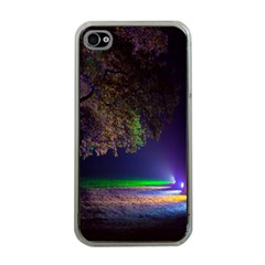 Illuminated Trees At Night Apple Iphone 4 Case (clear)