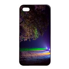 Illuminated Trees At Night Apple iPhone 4/4s Seamless Case (Black)