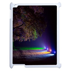 Illuminated Trees At Night Apple Ipad 2 Case (white)