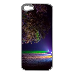 Illuminated Trees At Night Apple Iphone 5 Case (silver)