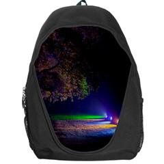Illuminated Trees At Night Backpack Bag
