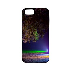 Illuminated Trees At Night Apple iPhone 5 Classic Hardshell Case (PC+Silicone)
