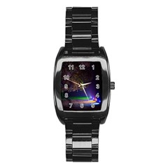 Illuminated Trees At Night Stainless Steel Barrel Watch
