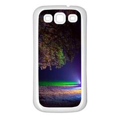Illuminated Trees At Night Samsung Galaxy S3 Back Case (white)
