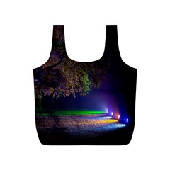 Illuminated Trees At Night Full Print Recycle Bags (s)