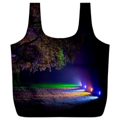 Illuminated Trees At Night Full Print Recycle Bags (l)