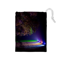Illuminated Trees At Night Drawstring Pouches (Medium)