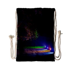 Illuminated Trees At Night Drawstring Bag (Small)