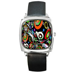 Background Balls Circles Square Metal Watch