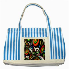 Background Balls Circles Striped Blue Tote Bag