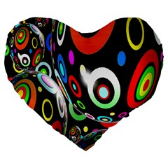 Background Balls Circles Large 19  Premium Heart Shape Cushions