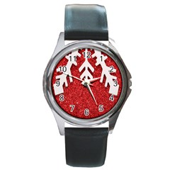 Macro Photo Of Snowflake On Red Glittery Paper Round Metal Watch