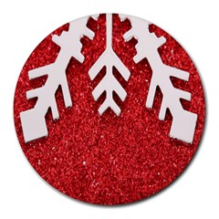 Macro Photo Of Snowflake On Red Glittery Paper Round Mousepads
