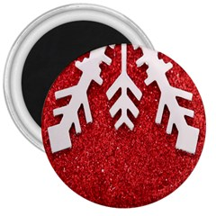 Macro Photo Of Snowflake On Red Glittery Paper 3  Magnets