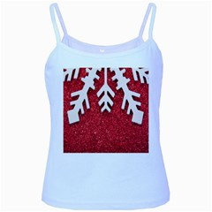 Macro Photo Of Snowflake On Red Glittery Paper Baby Blue Spaghetti Tank