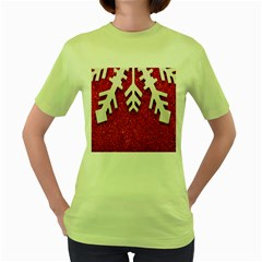 Macro Photo Of Snowflake On Red Glittery Paper Women s Green T Shirt