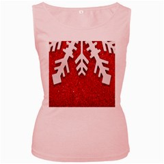 Macro Photo Of Snowflake On Red Glittery Paper Women s Pink Tank Top