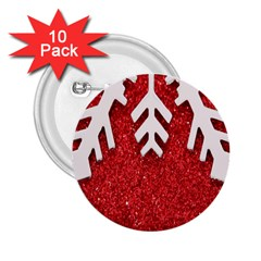 Macro Photo Of Snowflake On Red Glittery Paper 2.25  Buttons (10 pack)