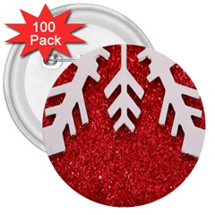 Macro Photo Of Snowflake On Red Glittery Paper 3  Buttons (100 pack)