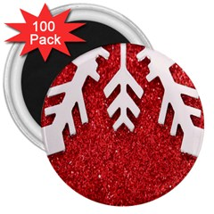 Macro Photo Of Snowflake On Red Glittery Paper 3  Magnets (100 Pack)