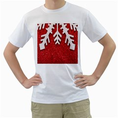 Macro Photo Of Snowflake On Red Glittery Paper Men s T-Shirt (White) (Two Sided)