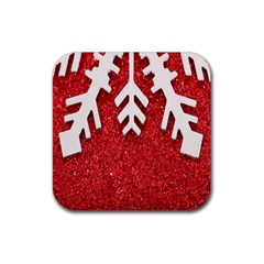 Macro Photo Of Snowflake On Red Glittery Paper Rubber Coaster (Square)