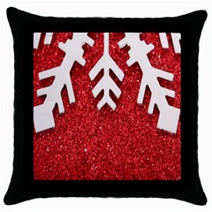 Macro Photo Of Snowflake On Red Glittery Paper Throw Pillow Case (black)