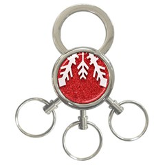 Macro Photo Of Snowflake On Red Glittery Paper 3-Ring Key Chains