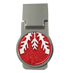 Macro Photo Of Snowflake On Red Glittery Paper Money Clips (Round)