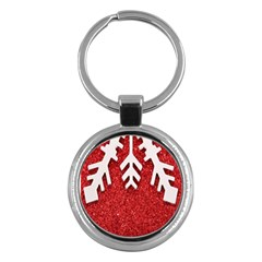 Macro Photo Of Snowflake On Red Glittery Paper Key Chains (round)
