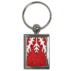 Macro Photo Of Snowflake On Red Glittery Paper Key Chains (rectangle)