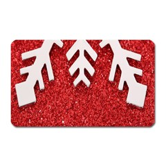 Macro Photo Of Snowflake On Red Glittery Paper Magnet (rectangular)