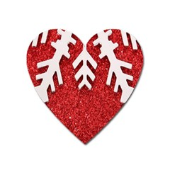 Macro Photo Of Snowflake On Red Glittery Paper Heart Magnet
