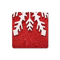 Macro Photo Of Snowflake On Red Glittery Paper Square Magnet