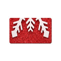 Macro Photo Of Snowflake On Red Glittery Paper Magnet (Name Card)