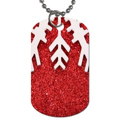 Macro Photo Of Snowflake On Red Glittery Paper Dog Tag (One Side)