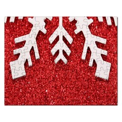 Macro Photo Of Snowflake On Red Glittery Paper Rectangular Jigsaw Puzzl