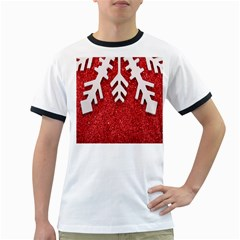 Macro Photo Of Snowflake On Red Glittery Paper Ringer T Shirts