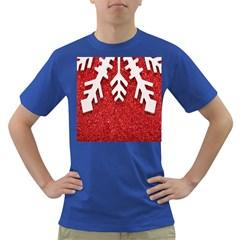 Macro Photo Of Snowflake On Red Glittery Paper Dark T Shirt