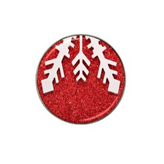 Macro Photo Of Snowflake On Red Glittery Paper Hat Clip Ball Marker